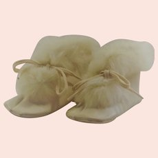 1940's Childs's Leather & Rabbit Fur Booties with Original Box