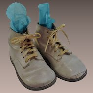 Mid Century 1950s Children's White Leather High Top Shoes