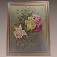 Victorian Oil on Canvas Pink and Yellow Roses with Three Bumble Bees