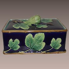 George Jones Majolica Fig Box