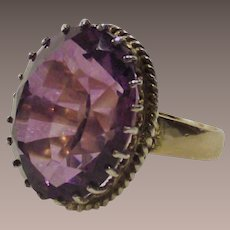 Sterling and Gold Five and One Quarter Caret Amethyst Ring