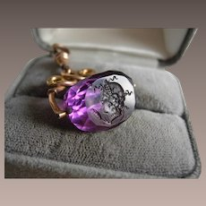 Amethyst Glass Spinner Fob with Male Intaglio