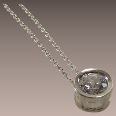 Sterling Bezel Set Cz Two Caret Pendent with Chain