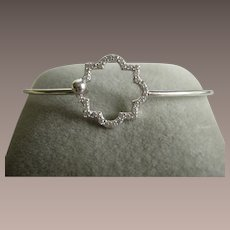 Sterling Bangle with Pave Cz Stones in Star Pattern