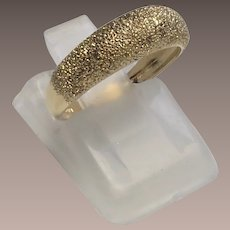 14k Yellow Gold Brushed Florentine Dome Band Ring