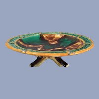 Wedgwood Majolica Footed Compote or Cake Dish