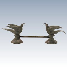 Silver Plate Knife Rest Two Birds Holding Worms in Mouth