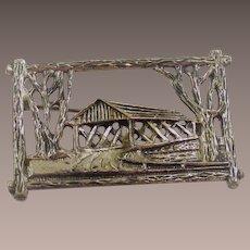 Vintage Beau Sterling Covered Bridge Brooch