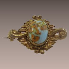 Victorian Brooch Turquoise Art Glass with Pumpkin Matrix Stone