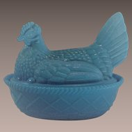 Vintage Blue Milk Glass Hen on Nest Westmoreland with Split Tail