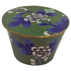 Chinese Cloisonné Brass Covered Box with Lid