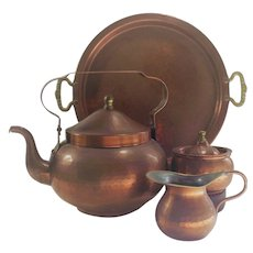 Vintage Four Piece Hammered Copper Tea Set
