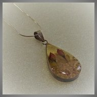 Vintage Sterling Wrapped Resin Pendant with Rose Buds
