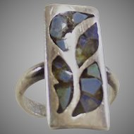 Vintage Sterling Ring with Abalone Insets