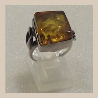 Sterling Silver and Natural Amber Ring With Calla Lilies on Shank