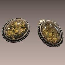 Vintage Sterling Set Amber Earrings