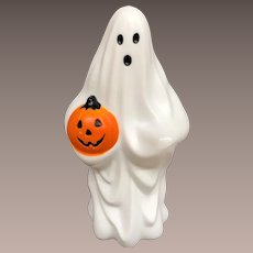 Vintage Halloween Plastic Blow Mold Ghost Holding Pumpkin Window Light