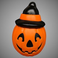 Vintage Halloween Empire Plastic Blow Mold PUMPKIN JOL with WITCH HAT Light