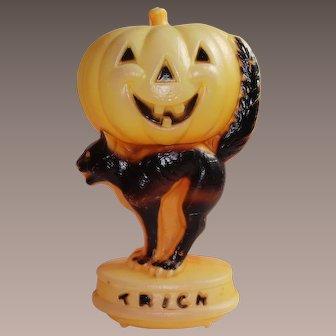 "Vintage Blow Mold 14"" Light Black Cat Holding a Jack O Lantern ON HOLD"