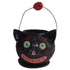 Department 56 Halloween Black Cat Candy Container With Wire Handle