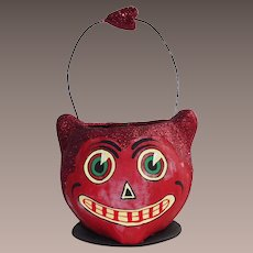 Department 56 Halloween Devilish Red Cat Candy Container With Wire Handle