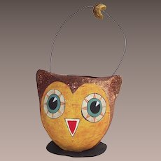 Department 56 Halloween Copper Glittered Owl Candy Container With Wire Handle