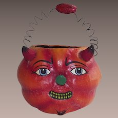 Department 56 Halloween Devilish Pumpkin Candy Container With Wire Handle