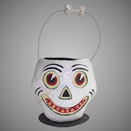 Department 56 Halloween White Glittery Scull Candy Container With Wire Handle