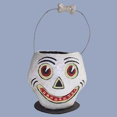 Department 56 Halloween White Glittery Skull Candy Container With Wire Handle