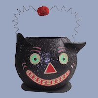 LARGEST Department 56 Halloween Black Cat Candy Container With Wire Handle