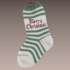 Vintage 1950s Christmas Cotton Stocking For Candy or Money For Your Doll
