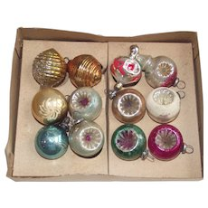 Mid Century Feather Tree Glass Ornaments in Original Box Indents and Lanterns