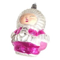 Vintage Eskimo Child Glass Christmas Ornament