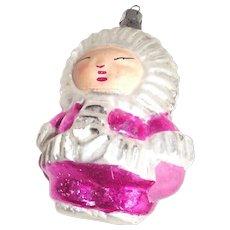 Vintage Eskimo Child Glass Christmas Ornament