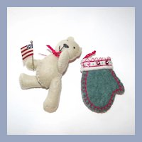 Teddy Bear Waving American Flag and Mitten Hand Made Felt Christmas Ornaments
