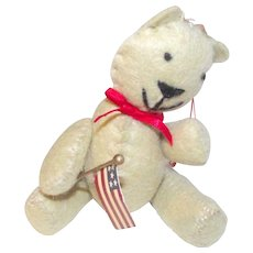 Hand Made Felt Teddy Bear Christmas Ornament with American Flag