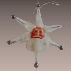 White Chenille Paper Face Star Shaped Santa Feather Tree Ornament circa 1950s
