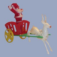 Hard Plastic Santa in Cart with Reindeer Candy Container E. Rosen 1950s