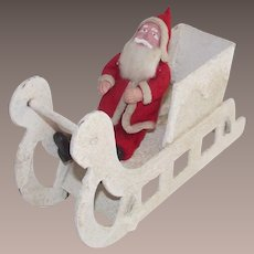 Clay Face Santa in Mica Covered Sleigh Japanese Mid - Century