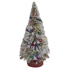 Flocked Bottle Brush Tree with Glass Garland and Ornaments 1950s