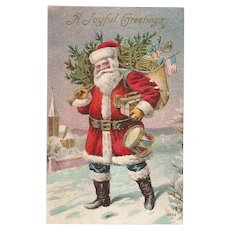 Vintage Santa with American Flag and Red White and Blue Toy Drum Embossed Post Card Nash Style Santa
