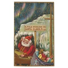 Vintage Embossed Santa at The North Pole Wireless Co Northern Lights and Stars