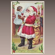 Vintage Santa Claus Doll and Large Sack Of Toys Post Card