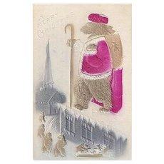 Vintage Teddy Bear Santa Claus Post Card with Basket Full of Teddy Bears Embossed Card