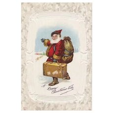 Vintage Santa Claus Post Card Old World Saint Nicholas With His Suitcase