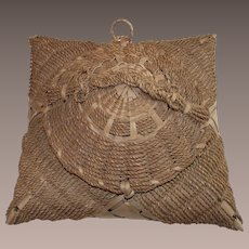 Northern New England Indian Sweet Grass and Splint Sewing Basket