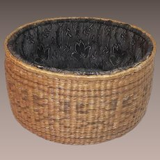 Victorian Sweet Grass Sewing Basket with Original Lining