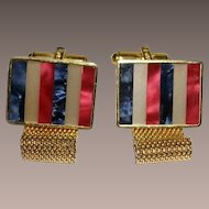 Destino Red White Blue Mother-of-Pearl Wrap Around Cuff links  Austria