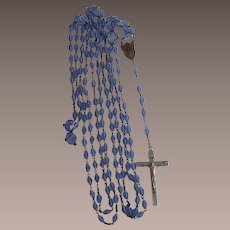 """104"""" long Seven Decade Rosary with Faceted Blue Czech Beads"""