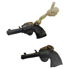 Cracker Jacks Toys Black Hand Gun Two Pieces